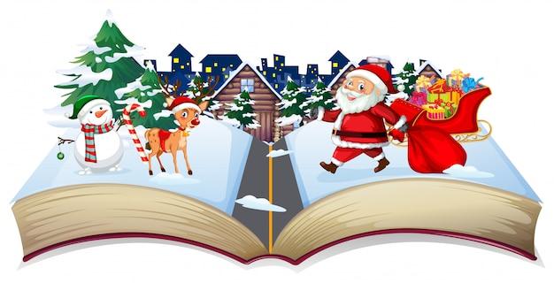 開いた本のクリスマスのテーマ 無料ベクター
