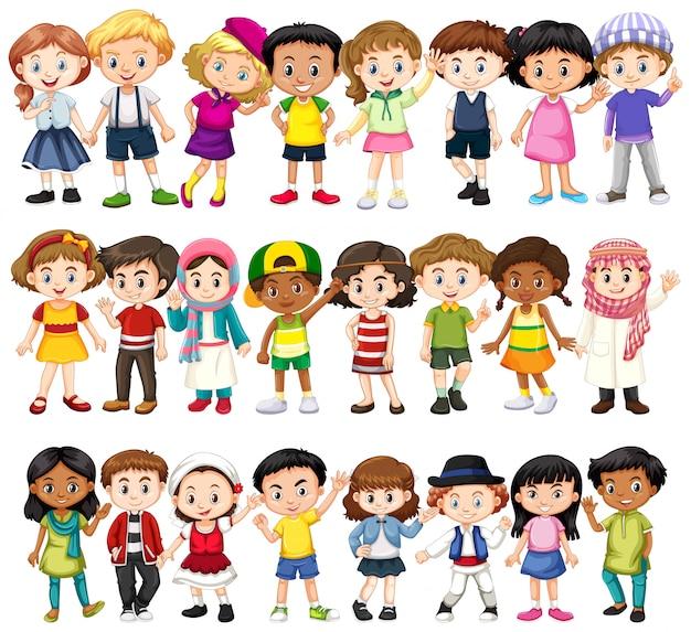 さまざまな人種の子供たちのセット 無料ベクター