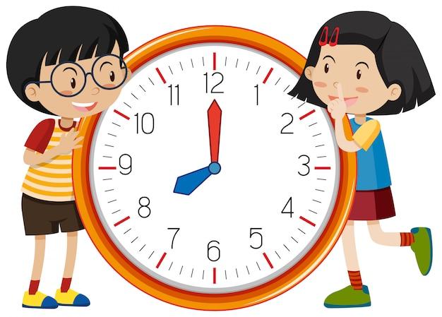 かわいい子供たちの時計のテンプレート 無料ベクター