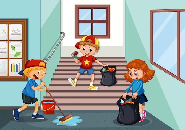 学校の廊下を掃除する子供たち 無料ベクター