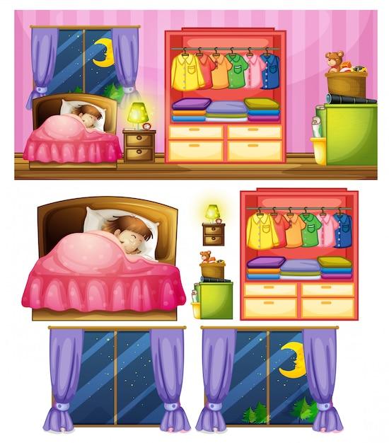 寝室で女の子のセット 無料ベクター