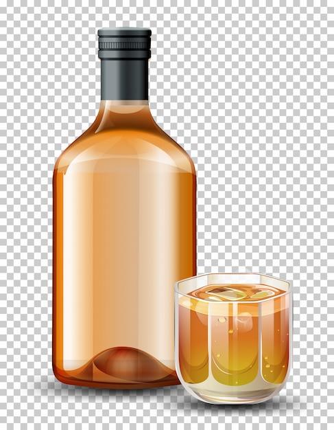 ボトルとウイスキーのグラス 無料ベクター