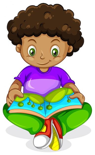 Чёрная африканская книга чтения мальчика Бесплатные векторы