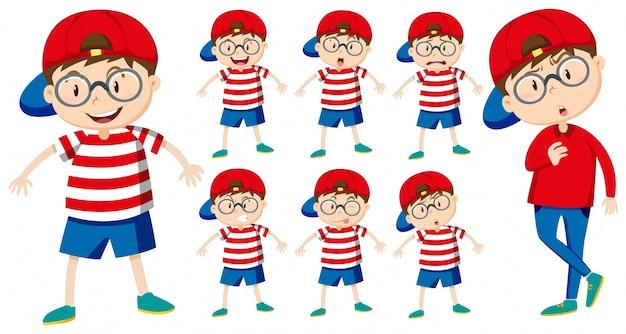 Мальчик с разными эмоциями иллюстрация Бесплатные векторы