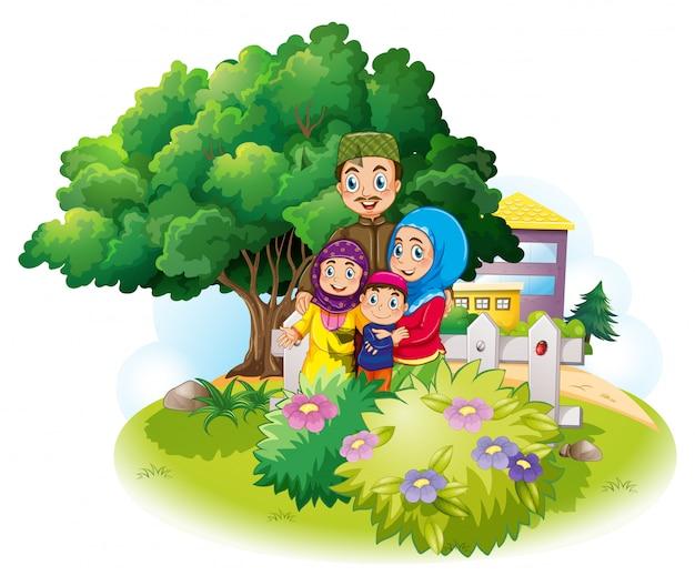 庭でイスラム教徒の家族 無料ベクター