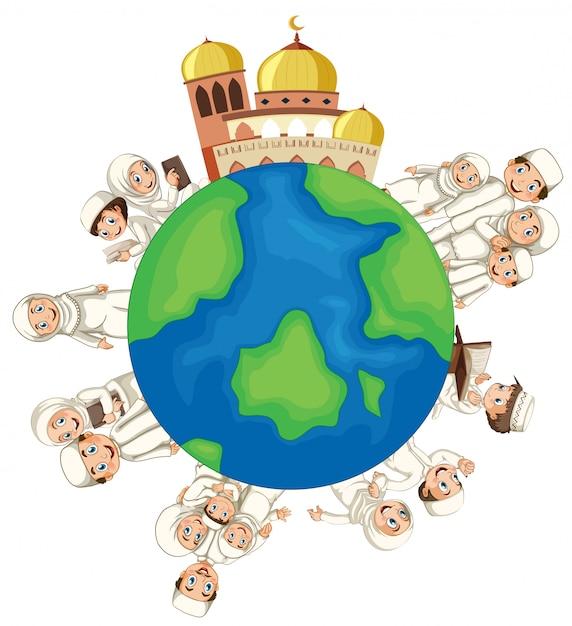 Мусульманские люди на земном шаре Бесплатные векторы