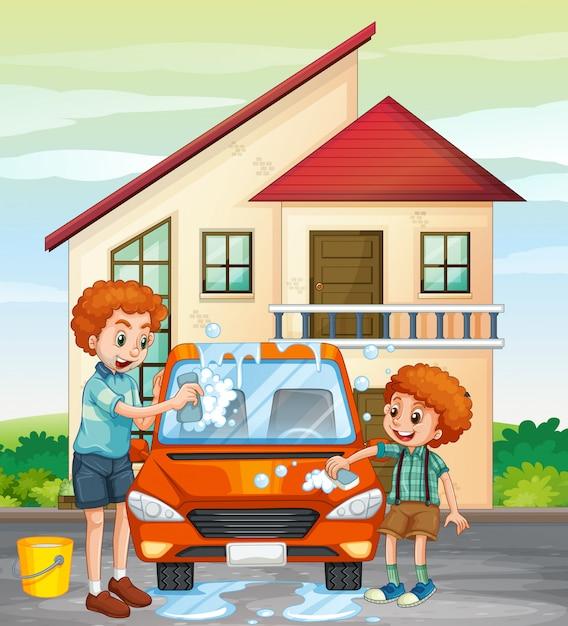 Папа и сын моют машину дома Бесплатные векторы