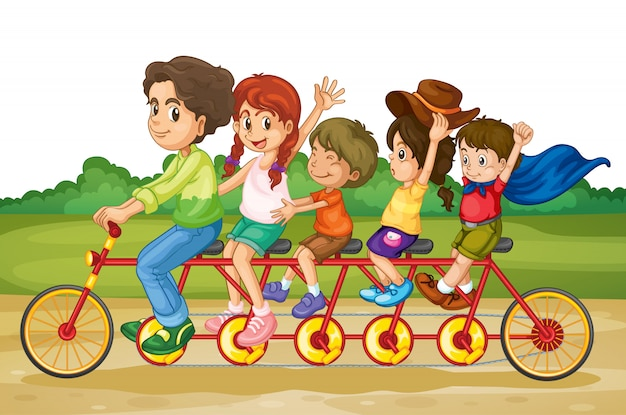 タンデムバイクの家族 無料ベクター