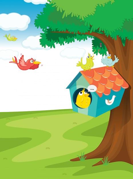 木の上の鳥の家 無料ベクター