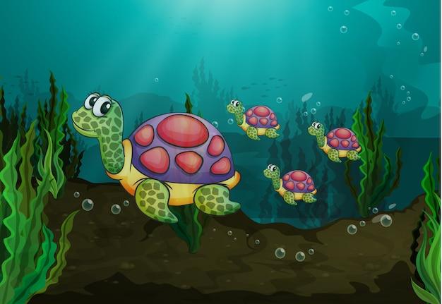 水中カメ 無料ベクター