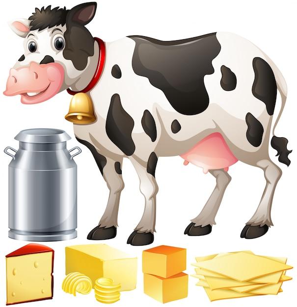 Иллюстрация корова и молочных продуктов Бесплатные векторы