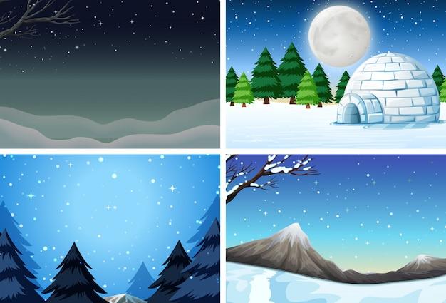 冬景色のセット Premiumベクター