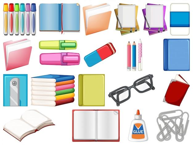 Набор канцелярских товаров и книг Бесплатные векторы