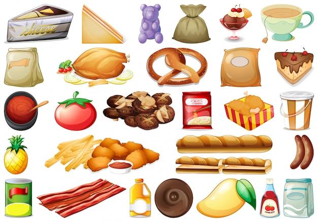 Набор различной еды Premium векторы