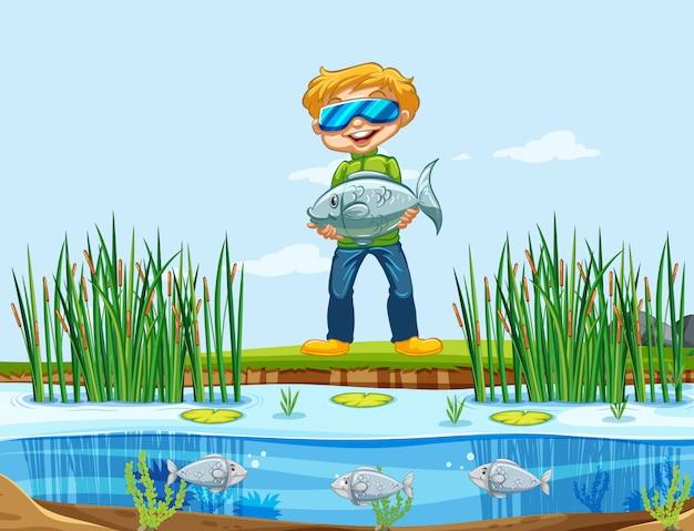 魚を捕る男 無料ベクター