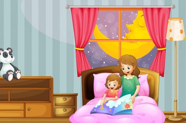 夜の就寝時の話を語る母 無料ベクター
