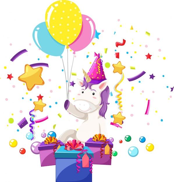 ユニコーンは誕生日を祝います 無料ベクター