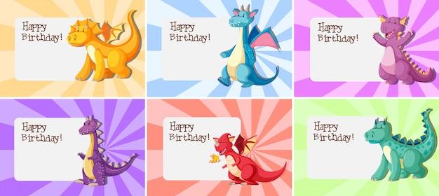 ドラゴンの誕生日テンプレートのセット 無料ベクター