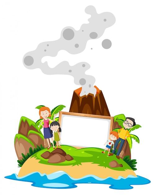 島で家族持株フレーム 無料ベクター