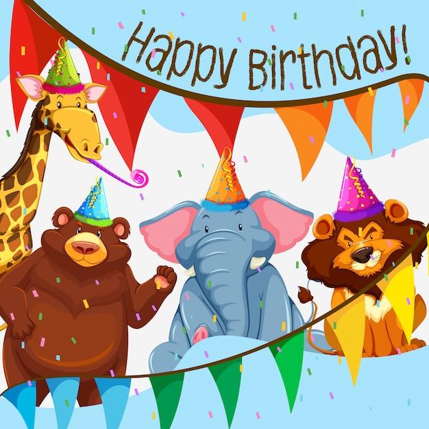 野生動物の誕生日パーティー 無料ベクター