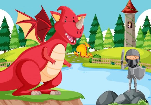 ドラゴンとの騎士の戦い 無料ベクター