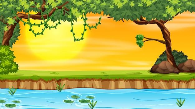 夕日の自然風景 無料ベクター