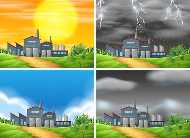 別の天候の工場のセット 無料ベクター