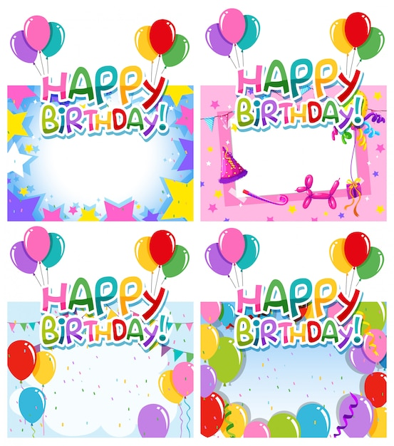誕生日フレームのセット 無料ベクター