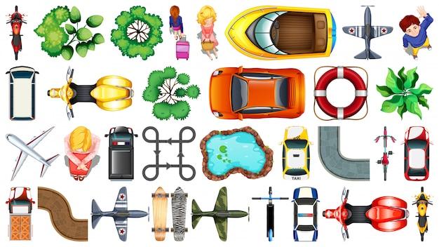 Набор различных объектов вид сверху Бесплатные векторы
