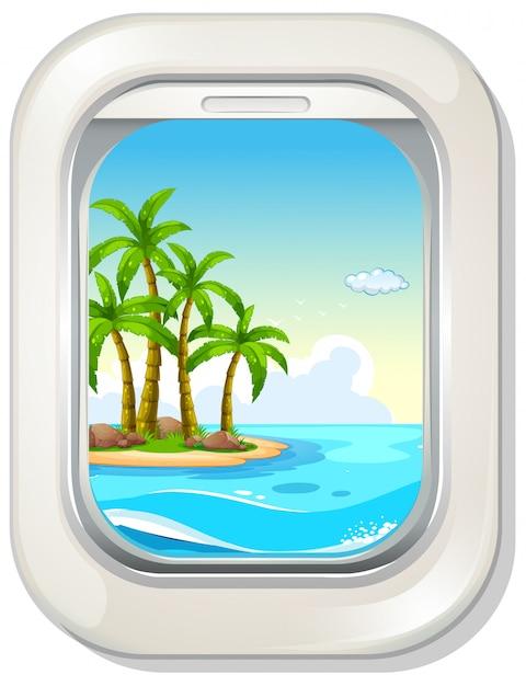 Вид на остров из окна самолета Premium векторы