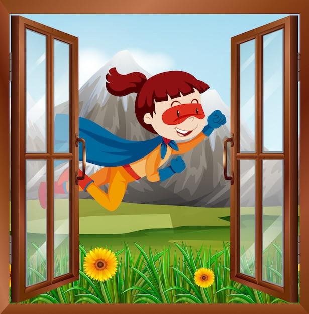 窓の上を飛んでいる女性のスーパーヒーロー 無料ベクター