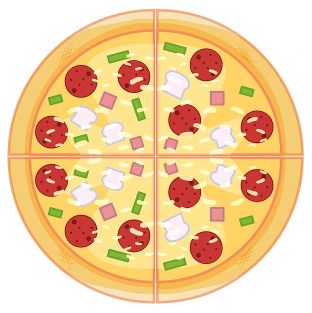 白い背景の上のペパロニのピザ 無料ベクター