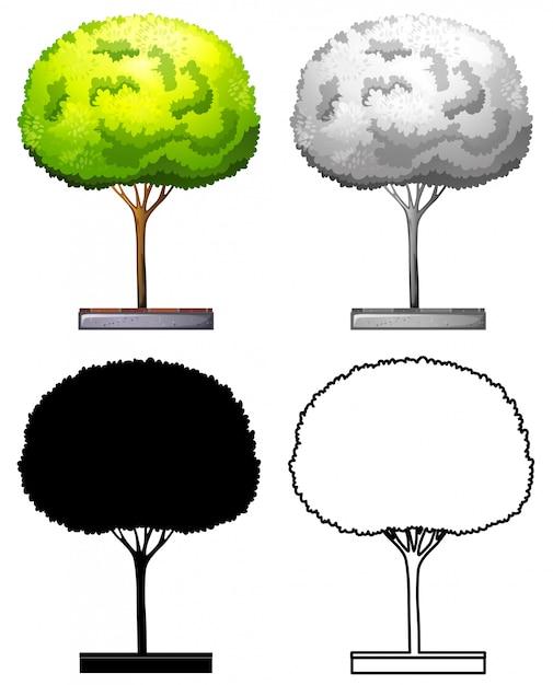 木のデザインのセット 無料ベクター