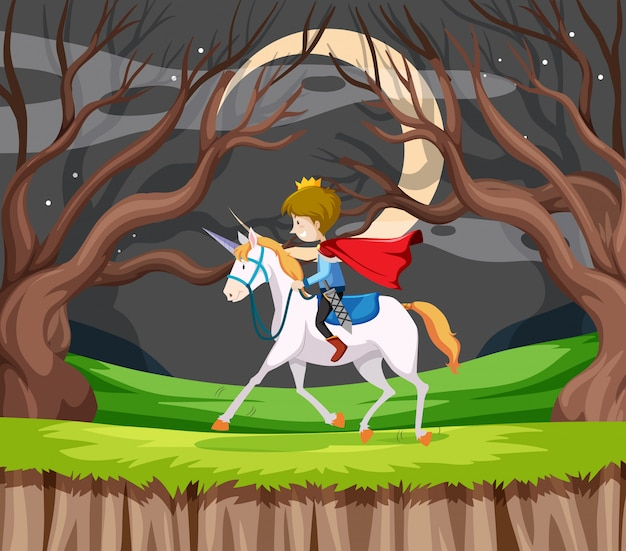 Принц ездить на лошади Premium векторы
