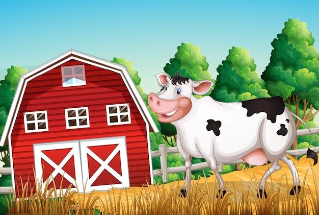 農地で牛します。 無料ベクター