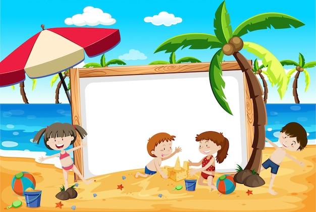 夏のビーチの子供たちのバナー 無料ベクター