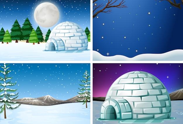 冬の風景のセット 無料ベクター
