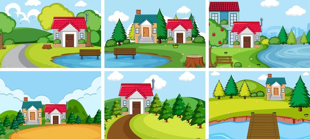 農村の家を設定します 無料ベクター