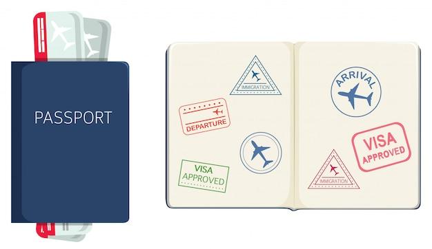 Паспорт на белом фоне Бесплатные векторы