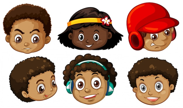 アフリカ系アメリカ人の頭のセット 無料ベクター