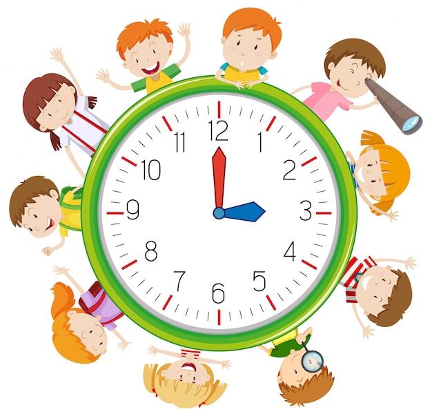 Шаблон дети на часах Бесплатные векторы