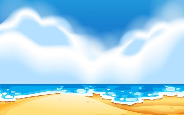 空のビーチシーン 無料ベクター