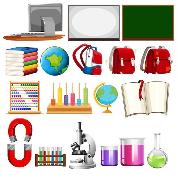 Набор элементов школьного обучения Бесплатные векторы