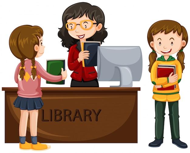 子供たちは図書館から本を借りる 無料ベクター