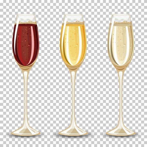 Набор различных напитков в бокале Бесплатные векторы