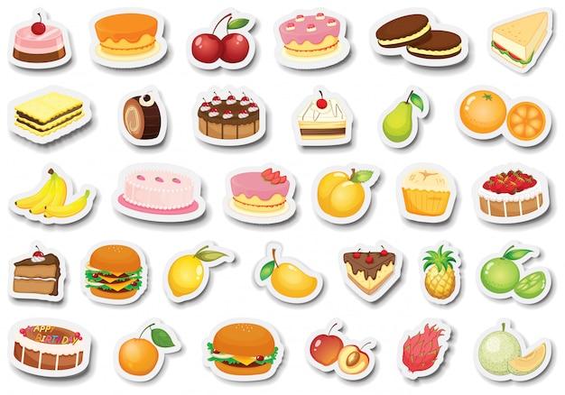 Набор десертных и фруктовых стикеров Бесплатные векторы