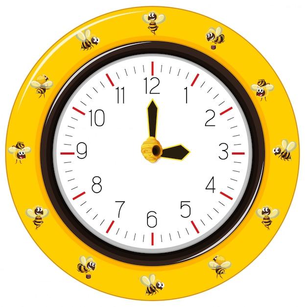 黒と黄色の縞模様の蜂の時計 無料ベクター