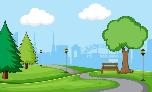 都市公園のシーンの背景 無料ベクター