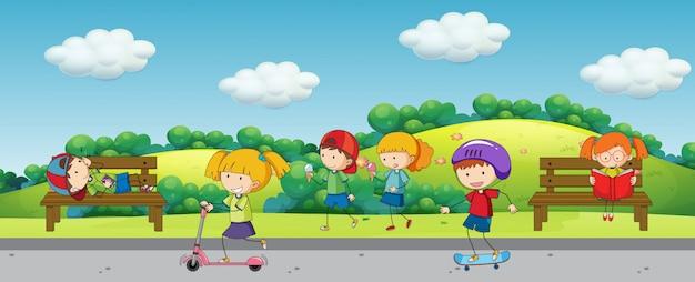 Дети в парке Бесплатные векторы