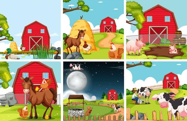 農地景観のセット 無料ベクター